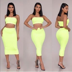 Dresses & Skirts - Brie Double Layered Tube Set-Neon Yellow